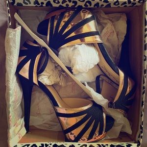 Gold and Black High Heels